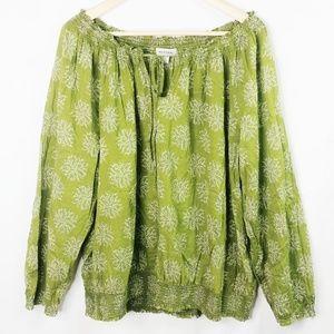 Merona 2XL Green Floral Off Shoulder Cotton Top C